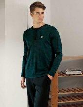 şahinler Düğmeli Jakarlı Erkek Pijama Takımı Yeşil Mep24512 2