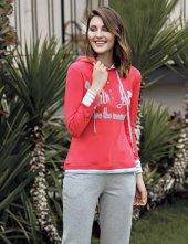 Mel Bee Kapşonlu Kadın Pijama Takımı Nar Çiçeği Mbp23616 2