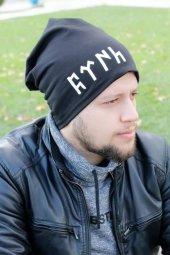 Göktürkçe Türk Yazılı Siyah Renk Erkek Bere