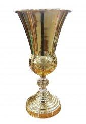 Dekoratif Metal Kristal Taş Altın Renk Vazo (36x18)cm