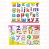 Okul Öncesi Bultak Puzzle Oyuncak Eğitici Ahşap Tutmalı 2 Li Set Rakamlar+harfler Çivili Puzzle