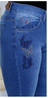 Kelebek Nakışlı Kot Pantolon Lacivert
