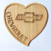 Chevrolet Logolu Kalp Bambu Büyük Tabak