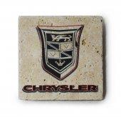 Chrysler Logolu Doğal Traverten Bardak Altlığı