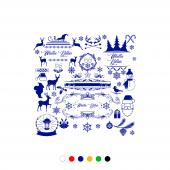 Farklı Farklı Yılbaşı Süslemeleri Yapıştırma Sticker 120x120cm