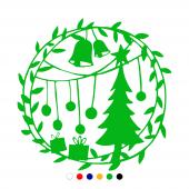 Yılbaşı Süslemesi Çam Ağacı Zil Sticker Yapıştırma 120x120cm