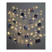 10 Metre 50 Adet Mandallı Peri Led Tel Led Işık Fotoğraf Dizimi
