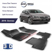 Opel Astra K 2015 Sonrası 3d Paspas Siyah Rizline