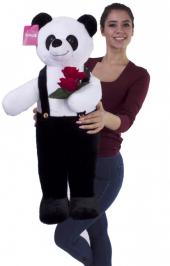 Ayakta Duran Tulumlu Pelüş Panda En Özel Hediye 80 Cm