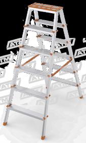 Ateş 6 Lı Çift Çıkışlı Alüminyum Merdiven