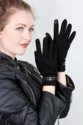 Siyah Renk Bayan Dokunmatik Ekran Eldiveni