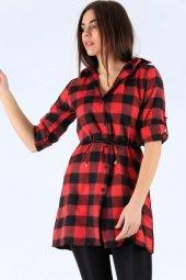 Kadın Kırmızı Damalı Yün Viskon Kemerli Tunik Gömlek