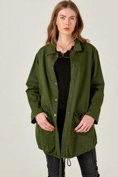Kadın Yeşil Sırtı Kızıl Derili Ceket