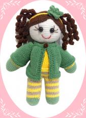Damla Oyuncak Yeşil Ceketli Kız,örgü Oyuncak,amigurumi