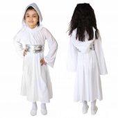 Star Wars Kostümü Prenses Leia Elbisesi Beyaz Kapşonlu Uzun Kol