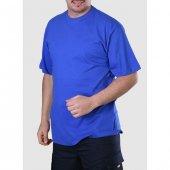 Sıfır Yaka Tişört Saks Mavi İş Elbiseleri