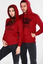 Sevgili Kombinleri Kırmızı Kıng Queen Kapüşonlu Kanguru Cepli