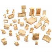 Boyalanabilir Ahşap Oyuncak Puzzle Maket Mobilya 34 Adet Minyatür