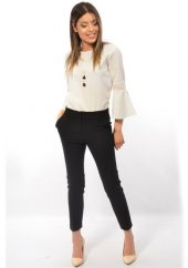 Belli Kadın Siyah Bilekte Dar Paça Kumaş Pantolon