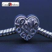Gümüş Love Charm, Charm Bileklik Uyumlu