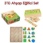 Ahşap Eğitici Set Ahşap Eşleştirme Oyunu 9 Parça Hayvan Desenli Küp Ahşap Geometrik Set Algı
