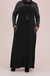 B14002 Büyük Beden Şal Yaka Kolyeli Lara Elbise Siyah