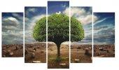 Ağaç Kuş Doğa Dekoratif 5 Parça Mdf Tablo
