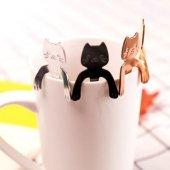 Gitar Temalı Kaşık Kedili Kaşık Kedi Kafalı Paslanmaz Çelik Çay Kaşığı