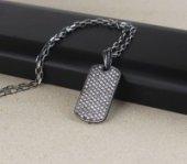 Zirkon Taşlı Rodajlı Erkek Gümüş Kolye