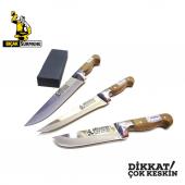 Mutfak Bıçak Seti 3&#039 Lü Sürmene Bilezikli Soğuk Mühür Orijinal