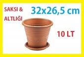 Lale Modeli 10 Litre 9 No Plastik Saksı Kahverengi 31x26,5 Cm