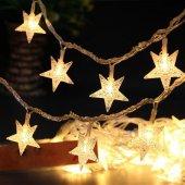 Yıldız Kar Tanesi Top Mandal Şekilli Pilli Dekoratif İp Led Işık