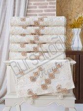 Evinize Moda Kadife İğne Oya Taş Kahveli 50x90 6 Lı Havlu