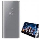 For Samsung Galaxy J7 Prime Kılıf Mirror Standlı Clear View Flip