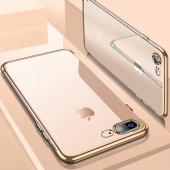Iphone 8 Plus Kılıf Dört Köşeli Lazer Silikon Altın