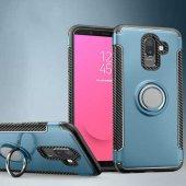 For Samsung Galaxy J8 Kılıf Yüzük Tutuculu Standlı Çift Katmanlı