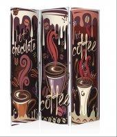 Coffee 3 Kanat Kanvas Paravan