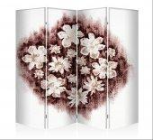 Kristal Çiçekler Dört Kanat Kanvas Paravan