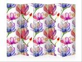 Nilüfer Çiçekleri Beş Kanat Kanvas Paravan