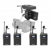 Boya Profesyonel Kamera Kablosuz Mikrofon Seti 4 Mikrofonlu