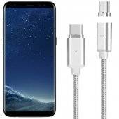 Samsung Galaxy S8 Manyetik Şarj Kablosu Type C Halat Örgülü Eko 1