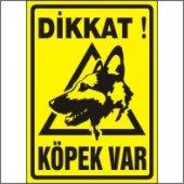 Dikkat Köpek Var Uyarı Levhası (Alman Kurdu) 25x35 Cm Dekota