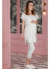 Hays Mom Dantel Detaylı Sabahlıklı 3lü Modal Pıjama Takımı Grı Me