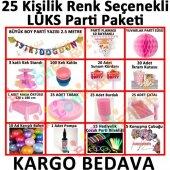 25 Kişi Pembe Kız Doğum Günü Paketi Parti Malzemeleri Ev Bahçe Sü