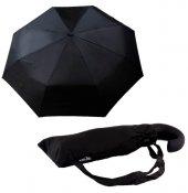 Zeus&co. Siyah J Saplı Rüzgarda Kırılmayan Tam Otomatik Şemsiye