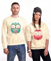 Tshirthane Owl Baykuş Sevgili Kombinleri Sweatshirt