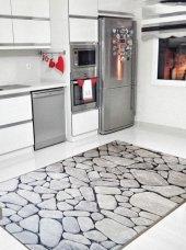 Elenist Gri Siyah Taş Mutfak Halısı Kaymaz Taban Salon Halısı