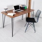 Evform Hardy Ev Ofis Çalışma Masası Tel Ayaklı Ceviz Ahşap Dokulu