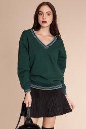 Ally Çizgili V Yaka Yeşil Sweatshirt 160252 1