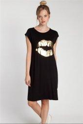 Dicte Dudak Baskılı Siyah Elbise